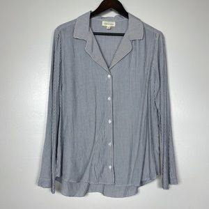 CLOTH & STONE Blue White Pinstripe Rayon Button Up